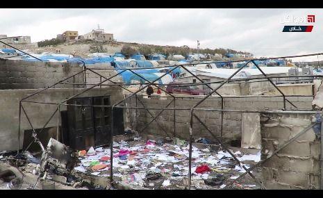"""الحرائق بالمخيمات تعود من جديد لتلتهم مدرسة بمخيم """"قاح"""" بريف إدلب الشمالي"""