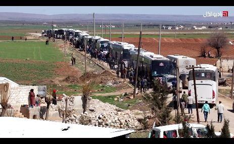 راديو الكل يرافق المهجرين قسرياً من حي الوعر  بمدنية حمص إلى مدينة جرابلس بريف حلب الشرقي